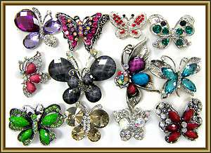 WHOLESALE LOT MULTI BUTTERFLY COCKTAIL BLING RING AJUSTABLE NEW