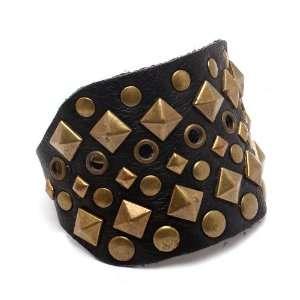 Rockabilly Punk Metal Studded Leather Wrap Bracelet