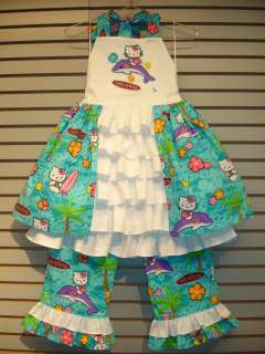 New OOAK Custom Boutique Design Dress & Pants Set 6 7 8 HELLO KITTY
