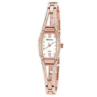 Ladies Rose Gold Watch With Mother Of Pearl Dial And Crystal Accents
