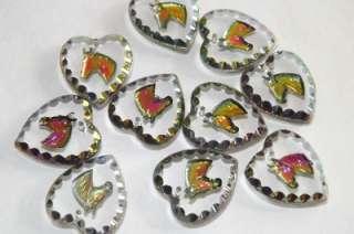 CZECH IRIDESCENT GLASS HEARTS & HORSES REVERSE INTAGLIO PENDANT CHARMS