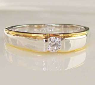 gold silver tone boys mens ladys engagement Ring SIZE 6 8.5