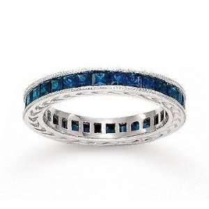 14k White Gold Channel Blue Sapphire Stackable Ring