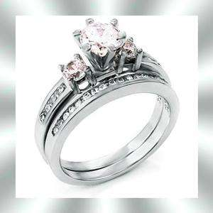 Pronged Round CZ Sterling Silver Wedding Ring Set