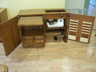 Parsons Electric Lift Sewing Machine Cabinet with Room For Your Serger