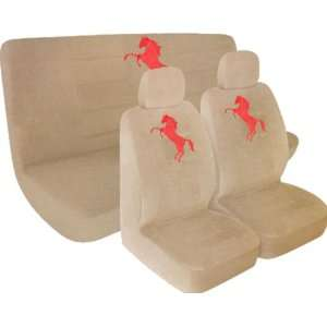 Low Back Seat Covers and Bench Cover with Red Mustang Horse Pony Logo