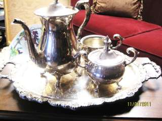 ANTIQUE POOLE EPCA BRISTOL SILVER ENGLISH TEA/COFFEE SET W/TRAY BY