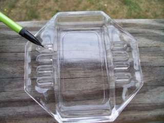 Vintage Art Glass Ashtray Clear 8 Sided W/ Six Rests