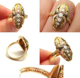 VINTAGE DESIGNER BLACK HILLS DIAMOND ROSE YELLOW GOLD HEIRLOOM