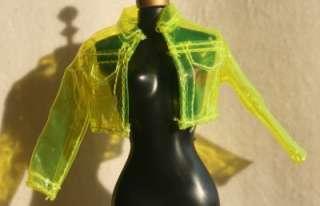 Barbie doll yellow clear plastic jacket coat rain MOD