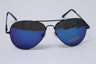 MEN 400UV AVIATOR MIRROR BLUE SUNGLASSES shades BLACK