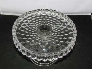 Fostoria American Cake Plate w/ Rum Well Crystal Glass Pedestal Stand