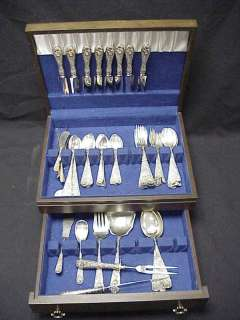 75pc Set Kirk Stieff Rose Sterling Silver Flatware