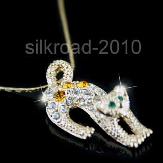 18K rose gold GP Leopard SWAROVSKI Crystal necklace BB37