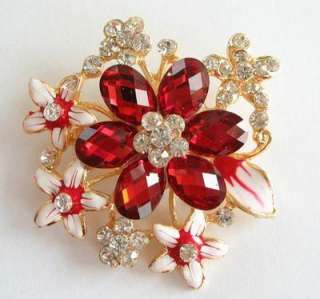 VARY COLORS BIG SWAROVSKI CRYSTAL GOLD BLOSSOM PIN BROOCH 1112