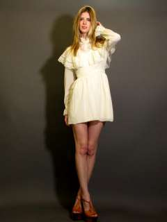 VTG 70S IVORY LACE EMPIRE WAIST HIPPIE BOHO WEDDING MINI DRESS