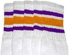 "25"" KNEE HIGH WHITE tube socks PURPLE/GOLD stripes style 3 (25 15"