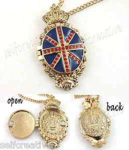 English Royal Crown Union Jack Flag Locket Necklace British Red Stones