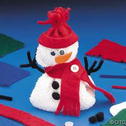 White Washcloth Snowman Felt Trim Beanbag Winter Kids Craft Kits