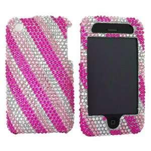 For iPhone 3Gs 3G Bling Hard Case Stripe Pink Slvr Gems Electronics