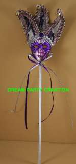 PURPLE JESTER Mini CERAMIC MASK Mardi Gras FAVOR