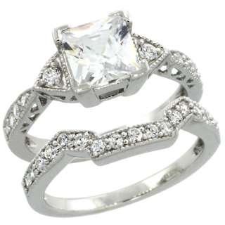 Silver 2 Piece Engagement/Wedding ring set w/CZ ol00090a