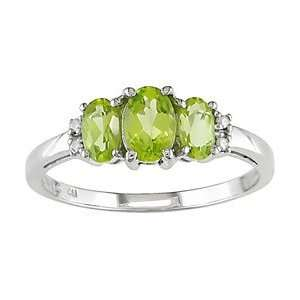 10k White Gold Oval Peridot & Diamond Ring Jewelry