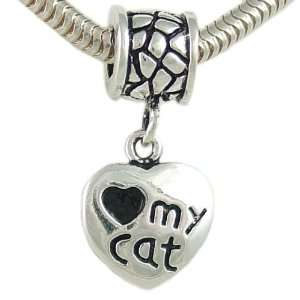 Love My Cat Heart Dangle Paw Print Bead in Silver Plate for European