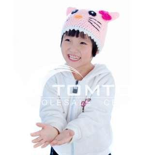 Cartoon Cap Cat Handmade Wool knit Children Hat H1551