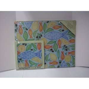Counter Art Fish & Olives Cutting Board W/ Trivet Kitchen