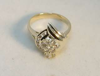 Ladies 14K Solid Yellow Gold 16 Diamond Crown Ring
