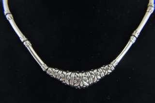 Bali Sterling Silver Artisan Flower Link Bib Necklace