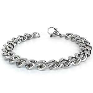 Stainless Steel Mens Curb Chain Bracelet 8.5 Inch West