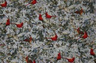 Christmas Winter Snow Pine Tree Cardinal Bird Valance