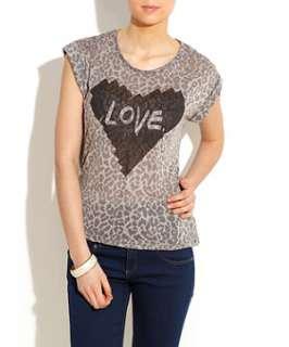 Charcoal (Grey) Love Heart Animal Print Tee  248024303  New Look