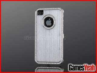 Silver Luxury Bling Diamond Aluminium Case Cover For All iPhone 4 4S