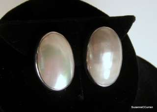 Sterling Silver Mabe Mother of Pearl Large Clip Earrings Nakai