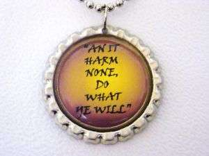 WICCAN AN IT HARM NONE SILVER BOTTLE CAP NECKLACE
