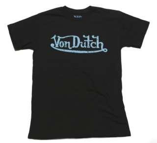 Mens Von Dutch Black T Shirt Blue Signature (Made In America) S XXL
