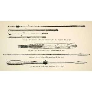 Spear Hunt Fish Tools Historic   Relief Line block Print Home