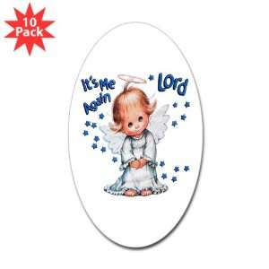 Sticker (Oval) (10 Pack) Its Me Again Lord Prayer Angel