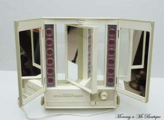 Vintage Montgomery Ward Deluxe Lighted Make Up Mirror