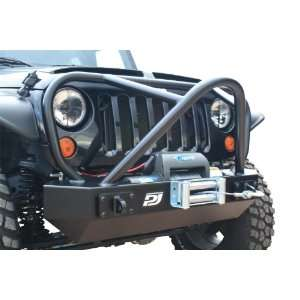PUREJEEP PJ1005 Front Winch Bumper; Stubby; w/Grille Guard