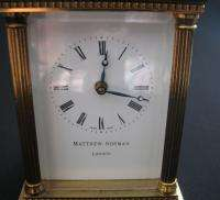 MATTHEW NORMAN LONDON CARRIAGE 8 DAY CLOCK WORK VG