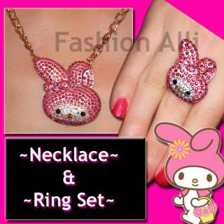 BIG CRYSTAL MY MELODY HELLO KITTY NECKLACE & RING SET♡