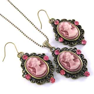 Antique VTG Style Pink Cameo Necklace Earrings Set s73
