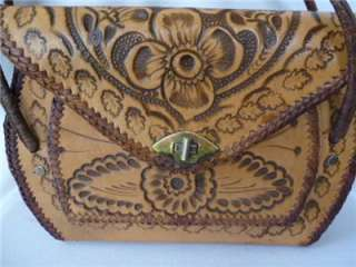 TOOLED LEATHER PURSE Flowers Western Hippie Boho Handbag GROOVY