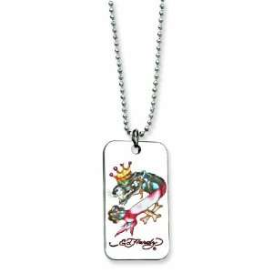 Ed Hardy Panther Painted Dog Tag 24inch Necklace   JewelryWeb Jewelry