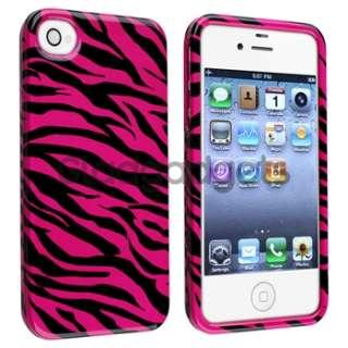 Pink/Black Zebra Hard Snap on Case Cover+PRIVACY FILTER Film for