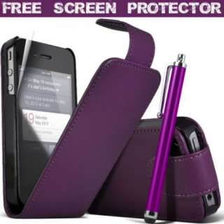 Purple Faux Leather Flip Case Cover And Stylus Pen For iPhone 4 4S